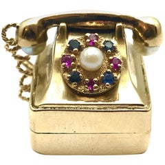 Pearl Ruby and Sapphire Yellow Gold Musical Rotary Phone Charm