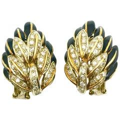 Black Enamel and Diamond 18 Karat Yellow and White Gold Clip Earrings