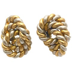 White and Yellow Gold Twisted Linked Circles Clip Earrings