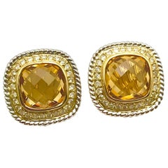 3.00 Carat Citrine and Diamond White and Yellow Gold Clip Earrings