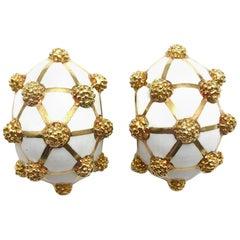 White Enamel and 18 Karat Yellow Gold Clip Earrings