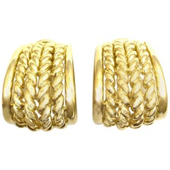 18 Karat Yellow Gold Basket Weave Drop Clip-On Earrings