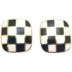 White and Black Enamel and Yellow Gold Checkerboard Clip Earrings