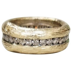 14 Karat Yellow Gold Bark Diamond Eternity Ring