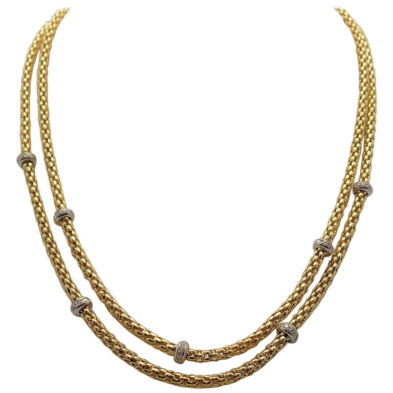 Double Strand Diamond Necklace by Fope For Sale