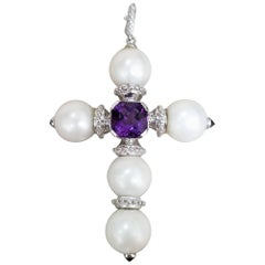 14 Karat White Gold South Sea Pearl Cross with an Amethyst