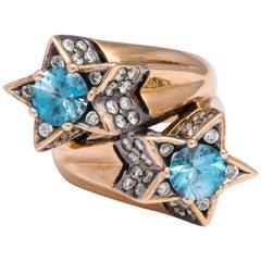 "Rose Gold, Blue Zircon and Diamond Cocktail ""Toi et Moi"" Ring"