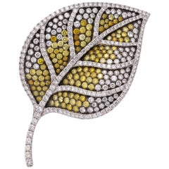 White Gold, Colorless and Multi-Color Yellow Diamond Leaf Brooch
