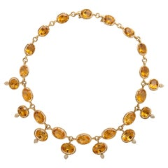 Yellow Gold, Citrine and Diamond Link Necklace