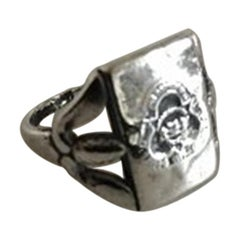 Georg Jensen Vintage Sterling Silver Wilson College 'PA' Class Signet Ring