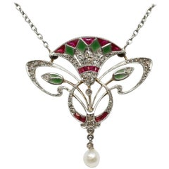 French Belle Époque Platinum Gold Diamond Ruby Enamel Egyptomania Pendant