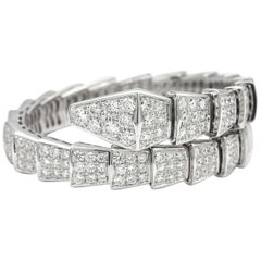 Bvlgari Serpenti 18 Karat White Gold with Full Pave Diamonds Bracelet