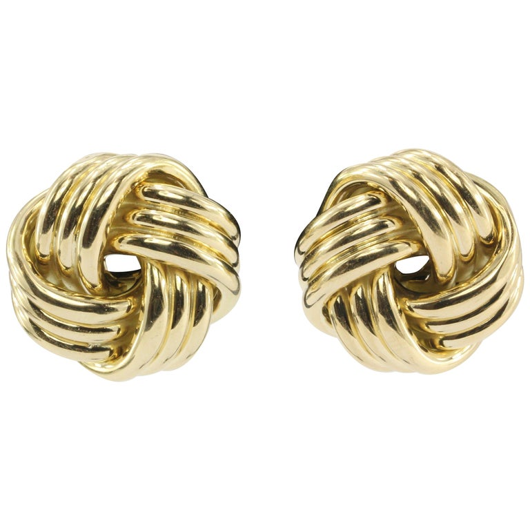 Yellow Gold Three Dimensional Love Knot Earrings For
