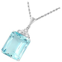Aquamarine and Diamond Set Pendant with Chain