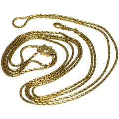 Antique French 1850 18 Karat Gold Long Chain Necklace