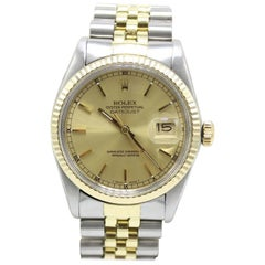 Rolex Datejust 16013 Champagne Dial 14 Karat Yellow Gold and Stainless Steel