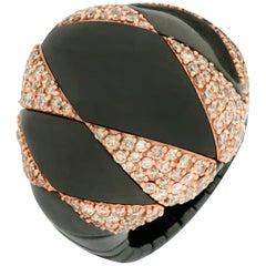 Roberto Demeglio Domino Black Ceramic and 18k Gold Brown Diamond Cocktail Ring