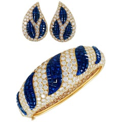 Van Cleef & Arpels Mystery-Set Sapphire, Diamond Bangle and Ear Clips