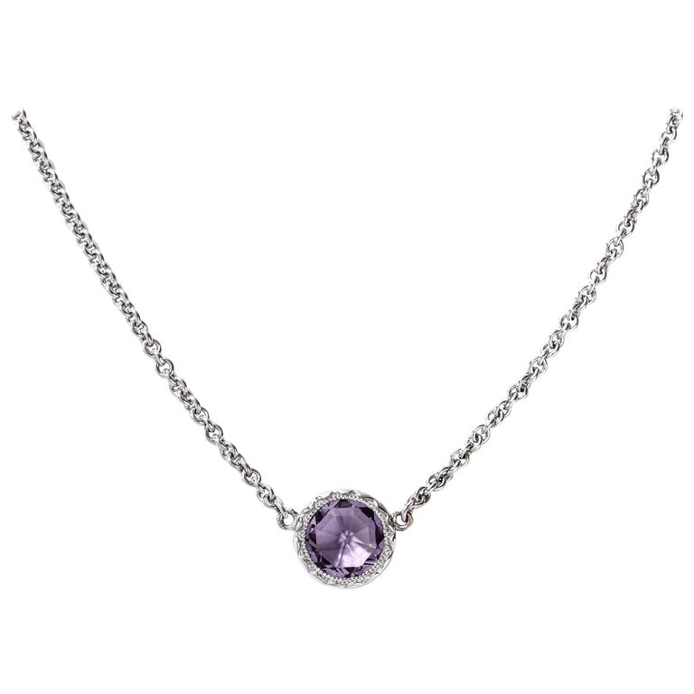 Tacori Silver & Amethyst Necklace Lilac Blossoms Petite Floating Bezel 1.27 ct.