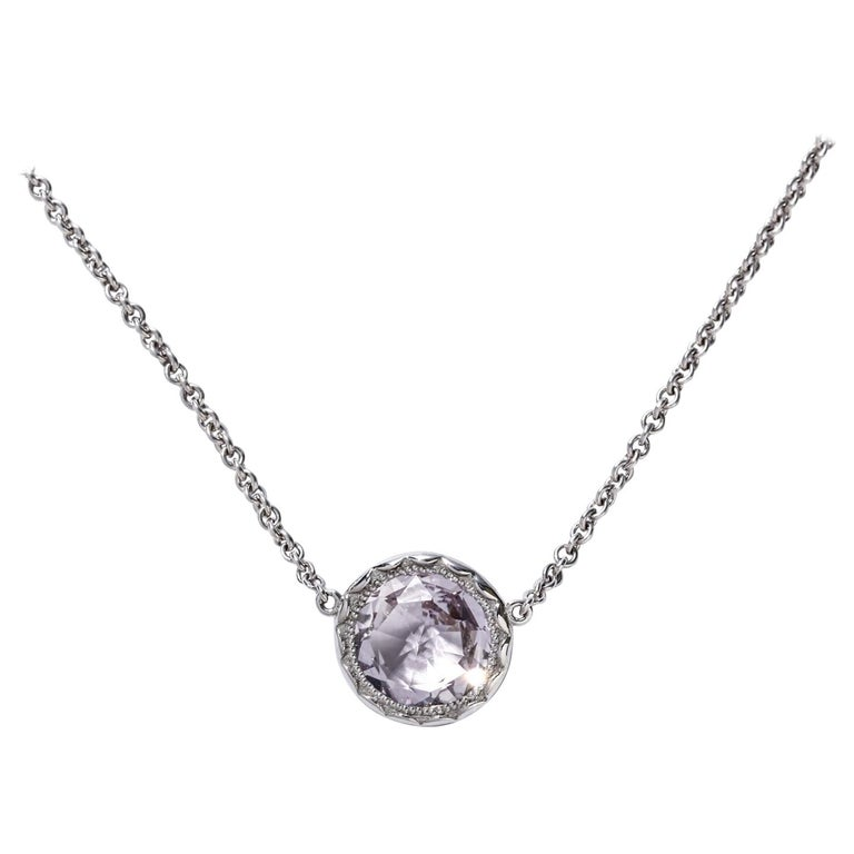 Tacori Silver & Rose Amethyst Necklace Lilac Blossoms Floating Bezel 3.40 ct.