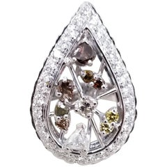 14 Karat White Gold Pear Shape Ring with Natural Diamonds
