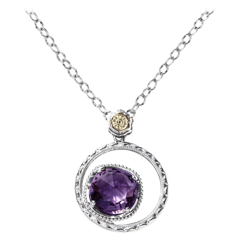 Tacori Silver & Amethyst Necklace Lilac Blossoms Bold Bloom 3.34 ct. 18k Gold