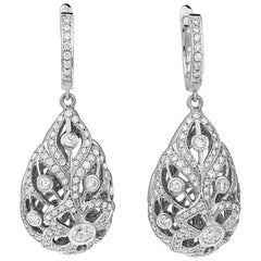 18K WG 1.90 Ct Diamond Florette Flower Pendant Teardrop Egg Drop Huggie Earrings