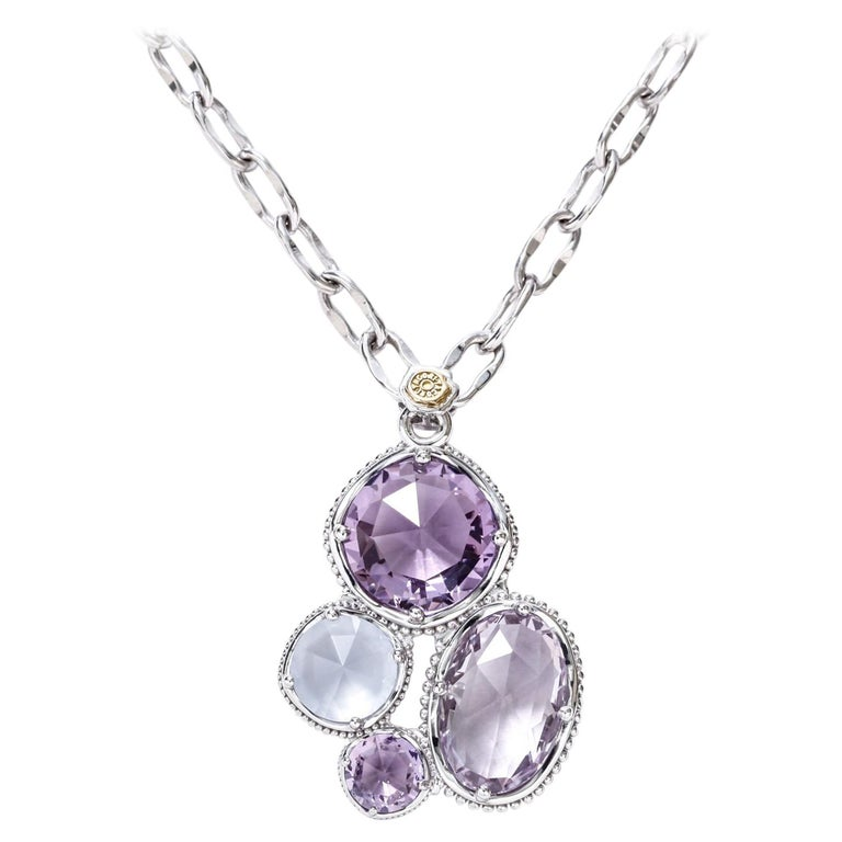 Tacori Necklace Sterling Silver Amethyst and Chalcedony Pendant 18 Karat Gold