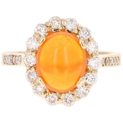 2.84 Carat Oval Cut Ethiopian Opal Diamond Yellow Gold Ring
