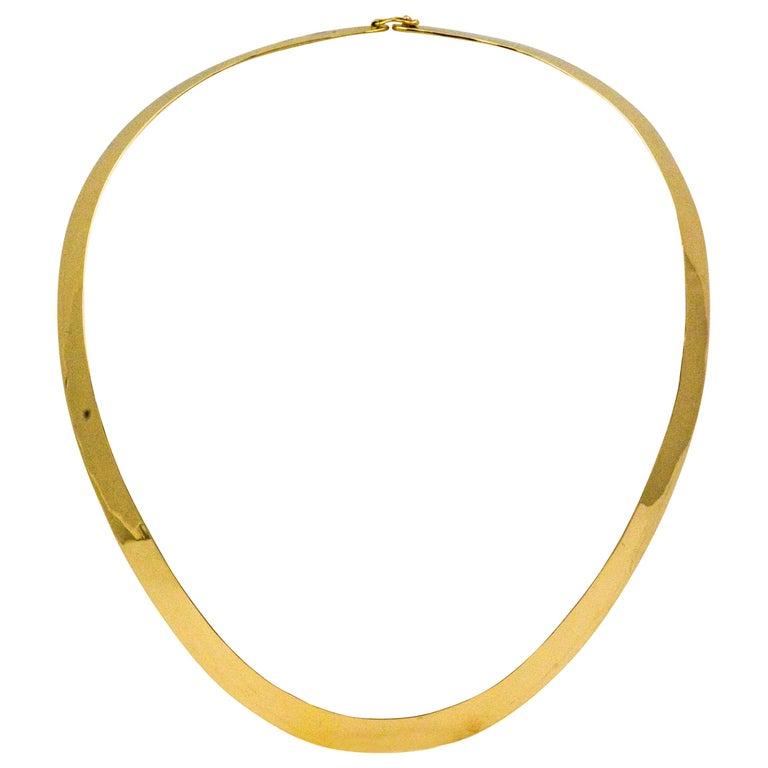 14 Karat Yellow Gold Flat Wire Collar Necklace
