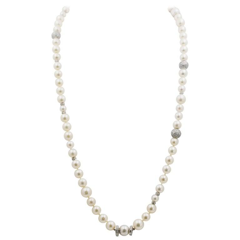 10 Carat Diamond Pearl Necklace