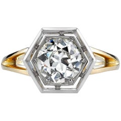 Hexagon Two-Toned Engagement Ring
