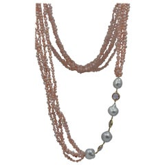 Peach Fresh Water Pearls Amethysts Smoky Quartz 14 KY Gold Multi Strand Necklace
