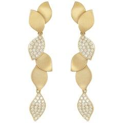 18 Karat Yellow Gold, 1.00 Carat Diamond, Lotus Leaf Drop Earrings