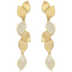 Carelle 18 Karat Yellow Gold, 1.00 Carat Diamond, Lotus Leaf Drop Earrings