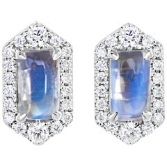 Petite Hexagon Moonstone and Diamond Earrings