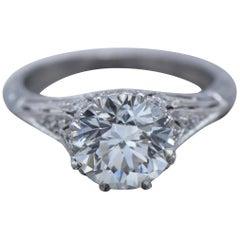 GIA Certified 1.94 Carat Diamond and Platinum Ring