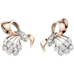 Retro 14 Karat Gold and Diamond Earrings