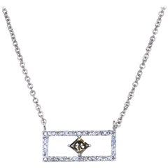 Rectangular Diamond Bar Necklace