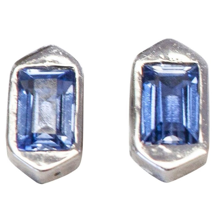 Hexagon Stud Earrings with Blue Sapphires