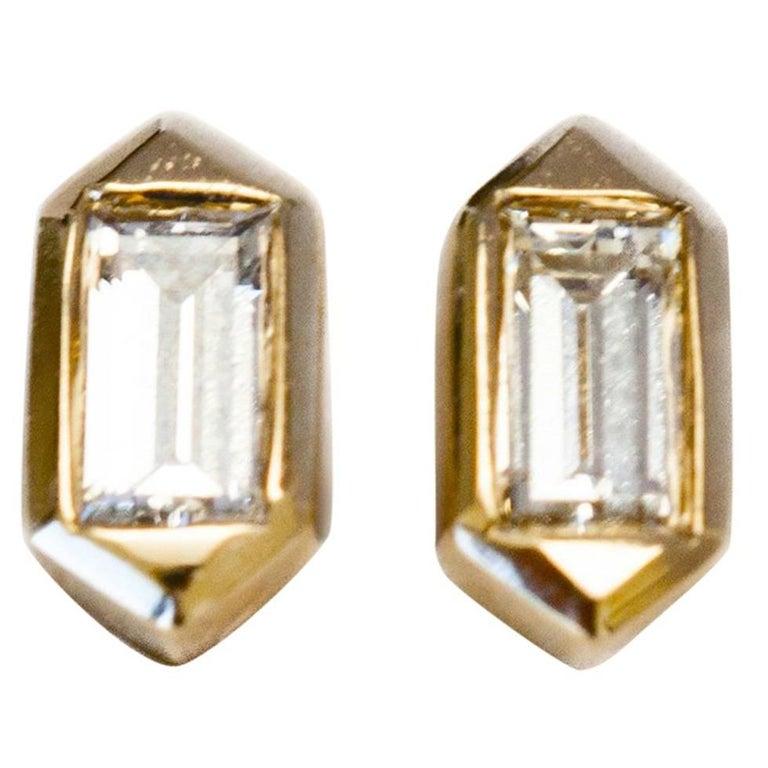 Hexagon Shaped Stud Earrings with Baguette Diamonds