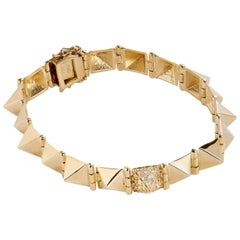 Diamond and Yellow Gold Spike Bracelet