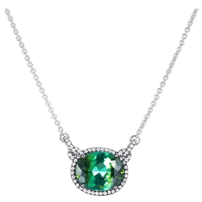 6.43 Carat Green Tourmaline and Diamond Pendant Necklace
