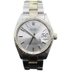 Rolex 1500 Date Silver Dial 18 Karat Yellow Gold and Stainless Steel