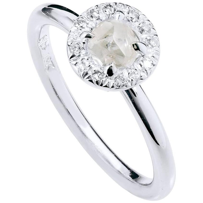 H & H 0.64 Carat Natural Rough Diamond Engagement Ring