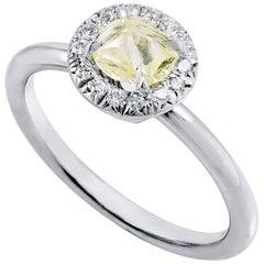H & H 0.74 Carat Natural Rough Yellow Diamond Engagement Ring
