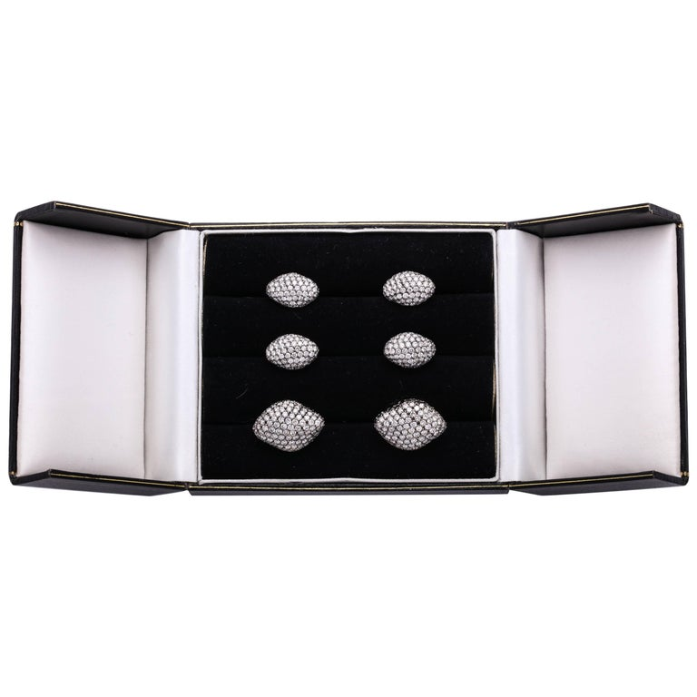 Gentleman's White Gold, Black Diamond and Colorless Diamond Dress Set