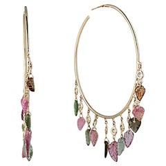 14 Karat Gold Diamond and Tourmaline Leaf Shaker Hoop Earrings
