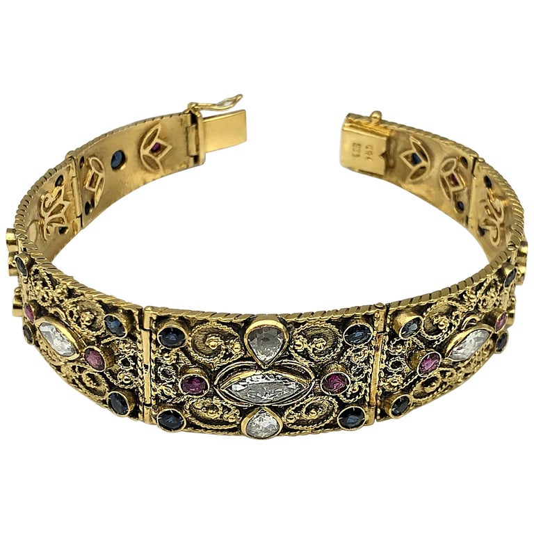 Georgios Collections 18 Karat Yellow Gold Diamond Byzantine Multicolour Bracelet