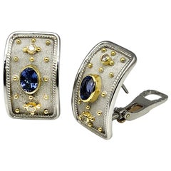 Georgios Collections 18 Karat White Gold Byzantine Diamond Tanzanite Earrings